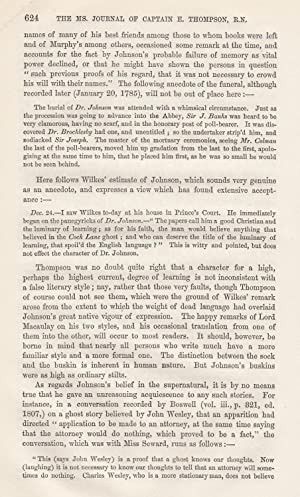 The MS Journal of Captain E. Thompson, R.N. 1783-1785. (Published 1868). A rare article from the ...