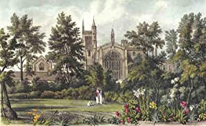 Vintage Print. Winchester College. Coloured reproductions of four exterior views as original publ...