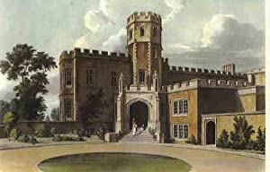 Vintage Print. Rugby School. Coloured reproductions of four exterior views as original published ...