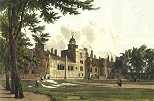 Vintage Print. Charterhouse. Coloured reproductions of two exterior views as original published b...