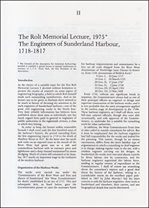 The Engineers of Sunderland Harbour, 1718-1817: The Rolt Memorial Lecture, 1975. An original arti...
