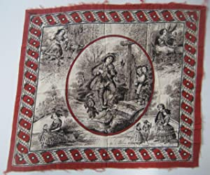 Printed Handkerchief (ca. 1820) Depicting Early 19th Century Scenes