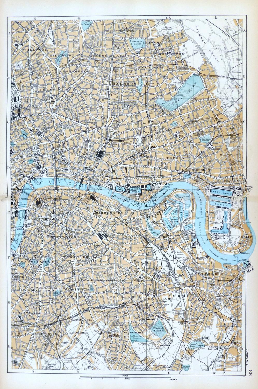 London East Map.London East Original Antique Map City