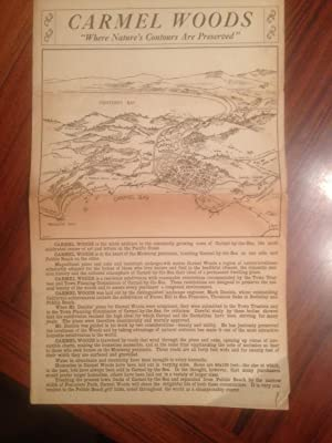 """Vintage promotional map / advertisment] Carmel Woods : """"where nature's contours are ..."""