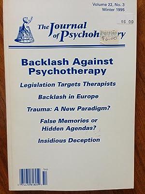 Journal Psychohistory: Backlash Against Psychotherapy(Volume 22, No.: Lloyd deMause [Editor]