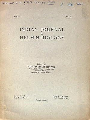 Indian Journal of Helminthology Vol. 4, No. 2, September, 1952: Gobind Singh Thapar [Editor]