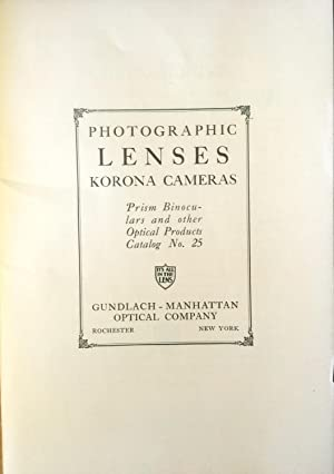 Photographic Lenses Korona Cameras Prism Binoculars and Other Optical Products Catalog No. 25 (52 ...