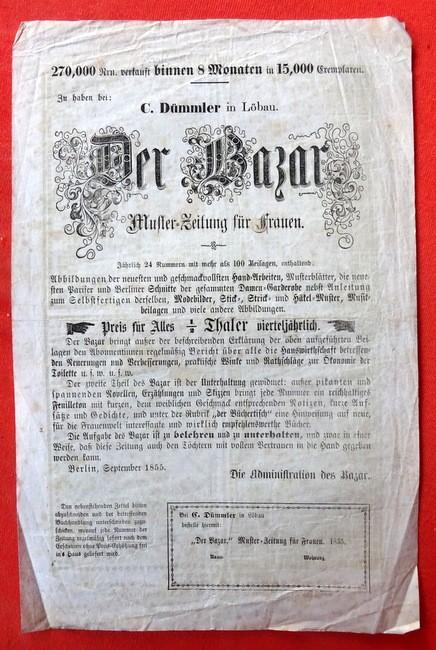 """Werbeblatt / Werbung für """"Der Bazar"""" Muster-Zeitung: Muster / Mode"""