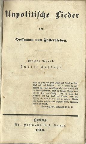 Unpolitische Lieder Erster Theil 2. Auflage: Hoffmann von Fallersleben: