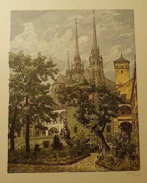 Gablonz (Farblithographie, zeigt Kirche mit Park): unleserlich signiert (A.K.)