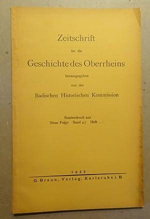 Zeitschrift für die Geschichte des Oberrheins Sonderdruck: Badische Historische Kommission:
