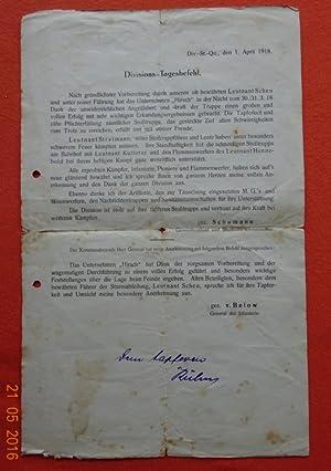 Divisions-Tagesbefehl Div.-St.-Qu., den 1. April 1918: von Below, (General