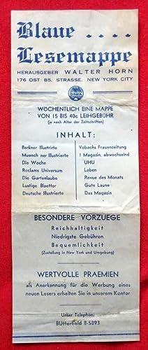 "Werbezettel ""Blaue Lesemappe"", Hg. Walter Horn, 176: Horn, Walter:"