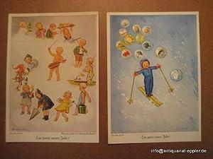 """2 Postkarten mit Motiven """"Ein gutes neues: Lehre, Wanda:"""