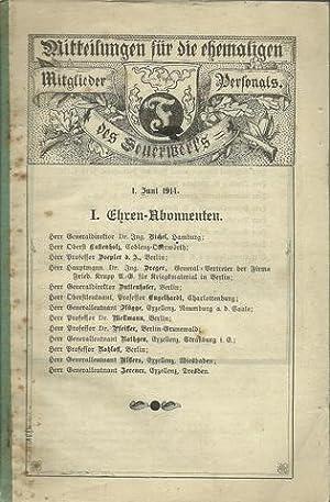 Mitteilungen für die ehemaligen Mitglieder des Feuerwerks Personals. 1. Juni 1914 1. Auflage: ...