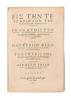 Tetrabiblos]. In Claudii Ptolemaei quadripartitum enarrator ignoti: Ptolemaeus, Claudius \