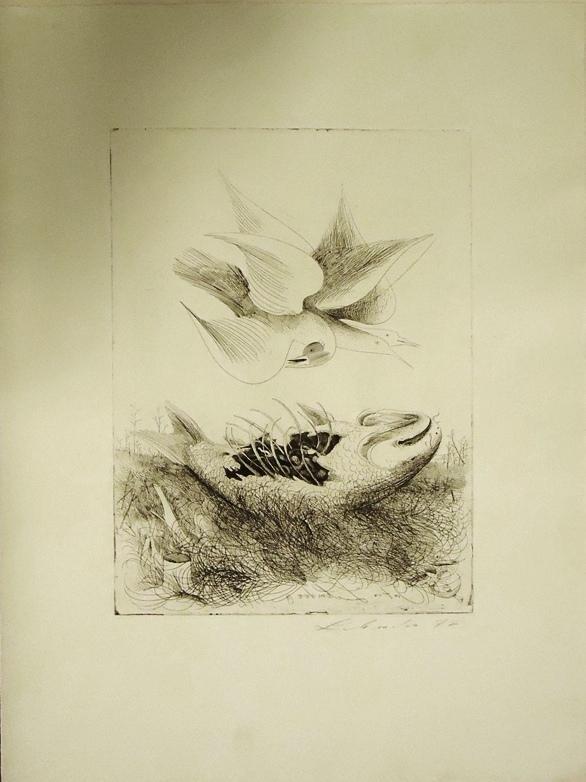 """1 Originalradierung, """"Fisch und Vogel"""". Eigenhändig mit: Lehmden, Anton"""
