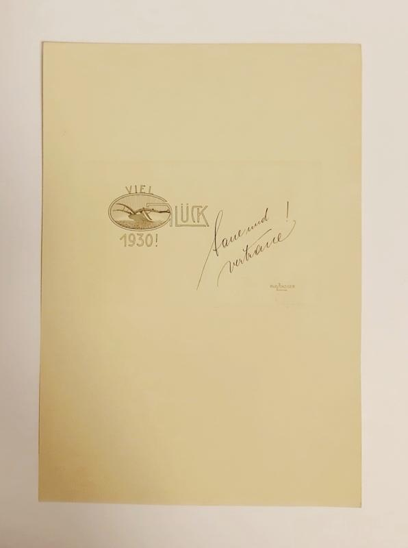 1 Originalradierung. Viel Glück 1930. Mit Bleistift: Zenziger, Rudolf