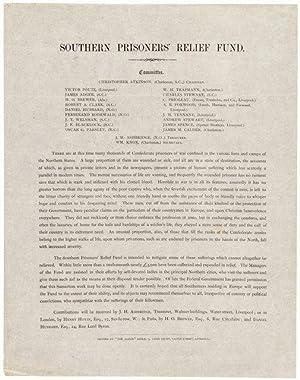 "American Civil War Broadside entitled ""Southern Prisoners' Relief Fund"": Christopher..."