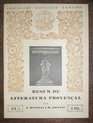RESUM DE LITERATURA PROVENÇAL. Colecciò popular Barcino,: MASERAS, Alfons i