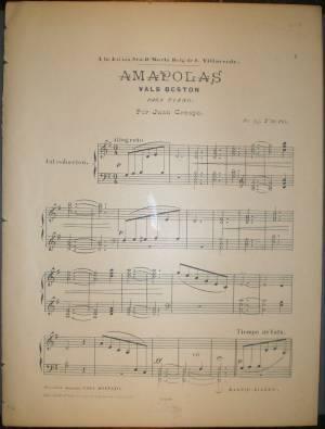 AMAPOLAS. Vals Boston para piano. A la Excma. Sra. Dª María Reig de F. Villaverde. Partitura.: ...