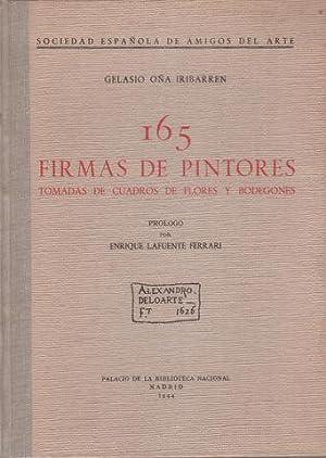 165 FIRMAS DE PINTORES tomadas de cuadros de flores y bodegones. Prólogo por E. Lafuente Ferrari. ...