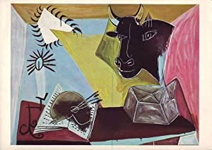 STILL LIFE WITH BULL'S HEAD, BOOK, PALETTE AND CANDLESTICK. 1938.