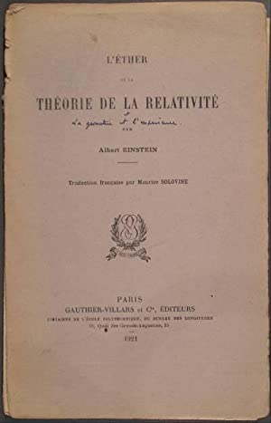 L'ETHER ET LA THEORIE DE LA RELATIVITE.: EINSTEIN, Albert