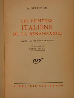 LES PEINTRES ITALIENS DE LA RENAISSANCE.: BERENSON B.