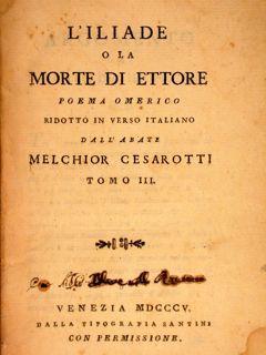 L Iliade O La Morte Di Ettore Poema Omerico Ridotto In Verso
