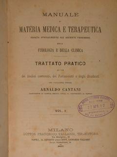 Manuale di materia medica e terapeutica basata: Cantani Arnaldo