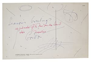 Autograph Postcard Signed: Onslow Ford, Gordon (born in England, 1912; died in the United States, ...