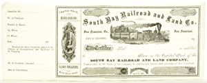 South Bay Railroad and Land Co. Stock Certificate: Buhne, Captain H. H.]