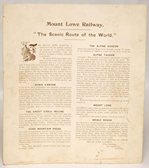 Mount Lowe Railway. 'The Scenic Route of the World.'