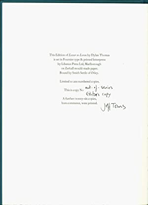 Letter to Loren: Thomas, Dylan. Introduction and Notes by Jeff Towns