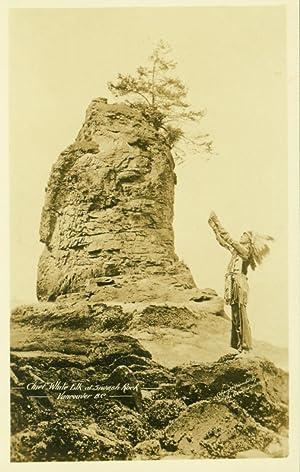 Chief White Elk at Siwash Rock [RPPC]: Gowen Sutton Co.