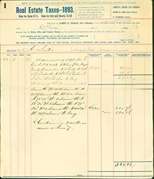 Real Estate Taxes - 1893 - for City and County of San Francisco Relating to the Rancho San Miguel