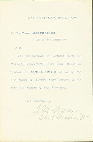 Form Letter to Adolph Sutro in Support of Samuel Foster