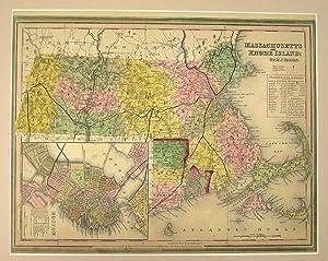 MASSACHUSETTS & RHODE ISLAND [Map]. From Tanner's New Universal Atlas: Tanner, Henry Schenck
