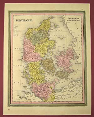 DENMARK [Map]. From Tanner's New Universal Atlas: Tanner, Henry Schenck