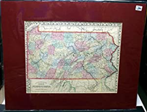 COUNTY MAP OF THE STATE OF PENNSYLVANIA. FROM MITCHELL'S NEW GENERAL ATLAS. 1869.: Mitchell, S...