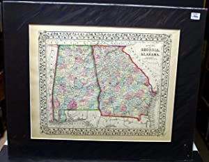 COUNTY MAP OF GEORGIA, AND ALABAMA. FROM MITCHELL'S NEW GENERAL ATLAS. 1869.: Mitchell, S. A.