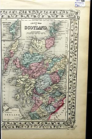 COUNTY MAP OF SCOTLAND. FROM MITCHELL'S NEW GENERAL ATLAS. 1869.: Mitchell, S. A.