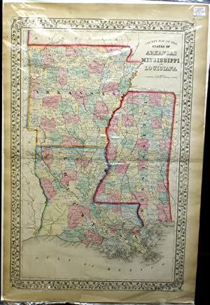 COUNTY MAP OF THE STATES OF ARKANSAS MISSISSIPPI AND LOUISIANA. FROM MITCHELL'S NEW GENERAL ...