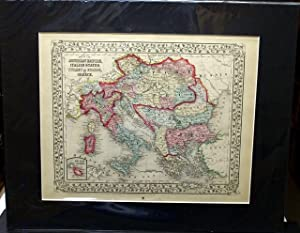 MAP OF THE AUSTRIAN EMPIRE, ITALIAN STATES. TURKEY IN EUROPE, AND GREECE. FROM MITCHELL'S NEW ...