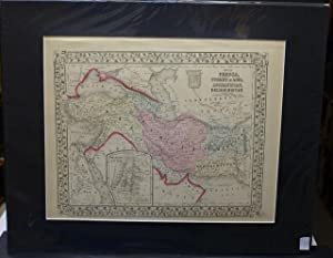 MAP OF PERSIA, TURKEY IN ASIA. AFGHANISTAN, BELOOCHISTAN. FROM MITCHELL'S NEW GENERAL ATLAS. ...