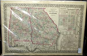 COUNTY MAP OF THE STATES OF GEORGIA AND ALABAMA.: Mitchell, S. A.
