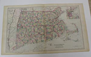 MASSACHUSETTS, RHODE ISLAND, AND CONNECTICUT [Map]. #52-53 From Gray's Atlas of the United ...