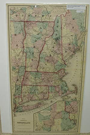 MAP OF THE RAILROADS OF NEW ENGLAND [Map]. From Gray's Atlas of the United States with General Ma...