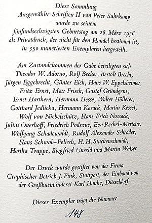 Ausgewählte Schriften II zur Zeit- und Geistesgeschichte: Suhrkamp, Peter